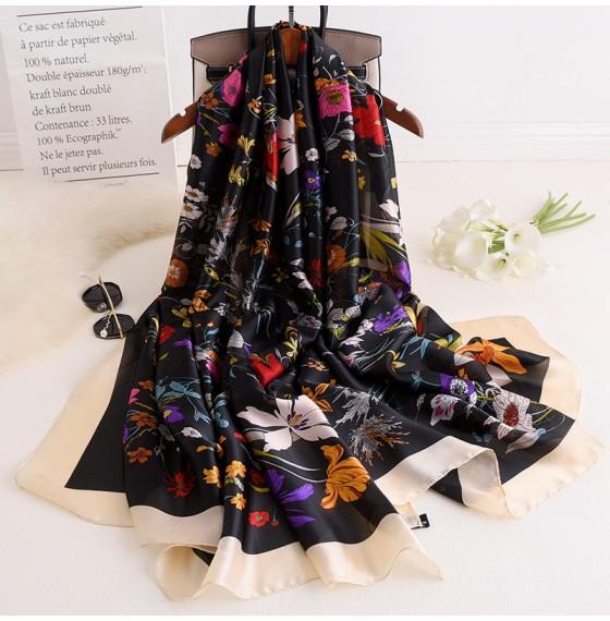 Жіночий шарф шовковий чорний Прованс