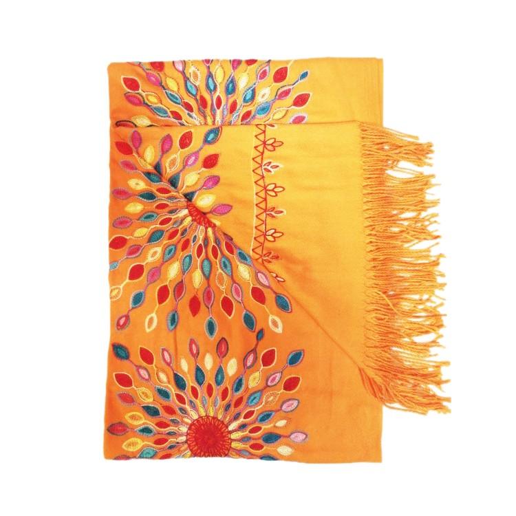 Кашеміровий шарф вишитий помаранчевий з Непалу