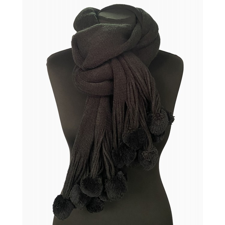 Жіночий в'язаний шарф вовняний з помпонами black