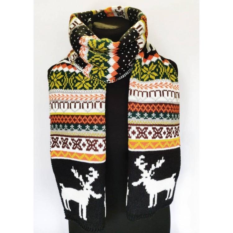 В'язаний шарф стильний зимовий з білими оленями
