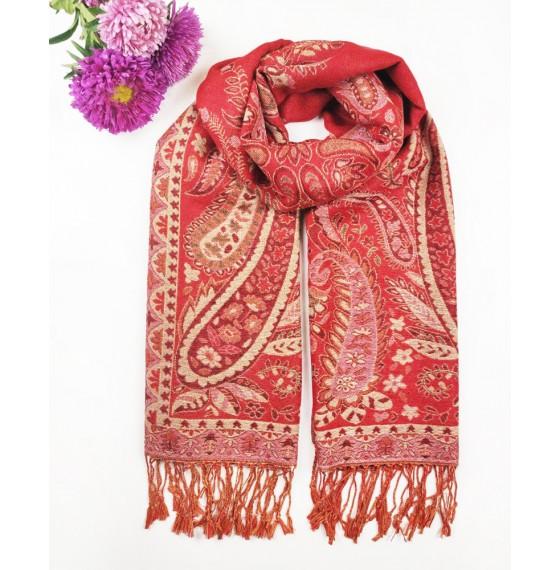 Палантин шарф жакардовий індійський червоний