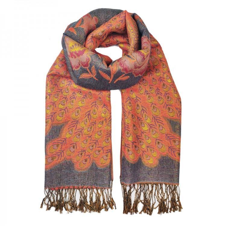 Палантин-шарф вовняний з люрексом peacock grey