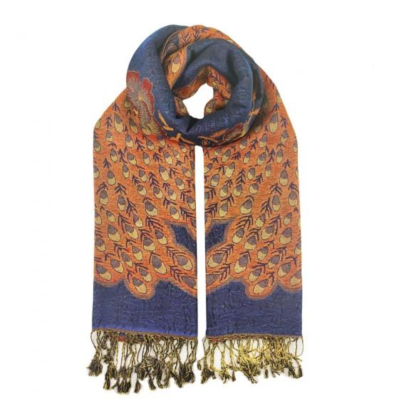 Палантин-шарф шерстяной люрексовый peacock blue