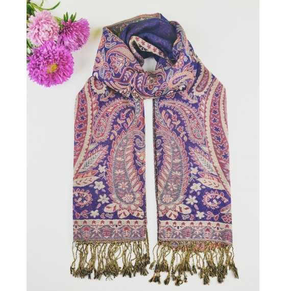 Палантин шарф жакардовий індійський синій