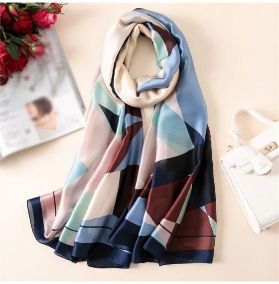Шелковый шарф женский шейный цветной шарф