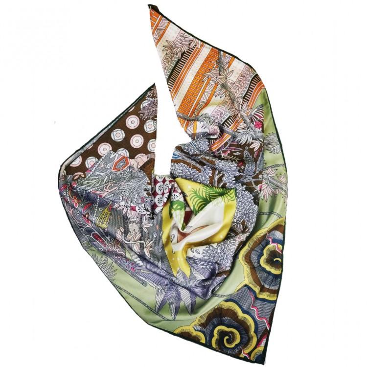 Хустка шовкова зелена вінтажний стиль середньовіччя