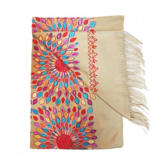 Женский шарф кашемировый с шелковой вышивкой солнце beige