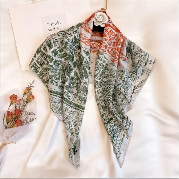 Шовковий шарф хустка зелена вінтажна La Cite Cavaliere 90*90 см