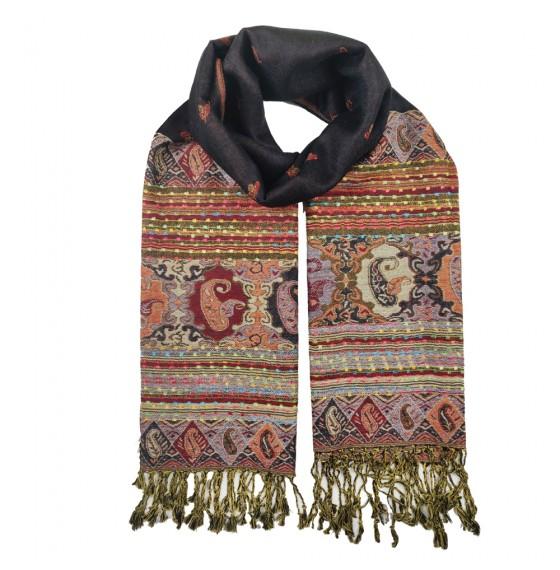 Палантин шарф подвійний чорний Індія
