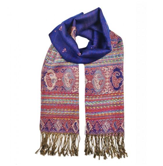 Палантин шарф індійський синій подвійний
