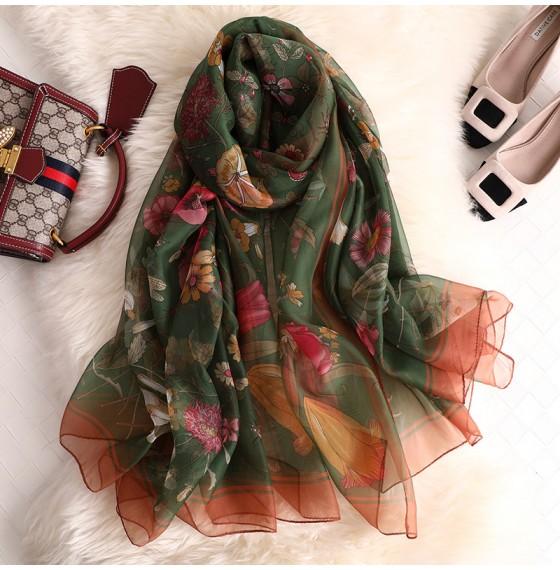 Женский шарф шифоновый легкий в цветочек
