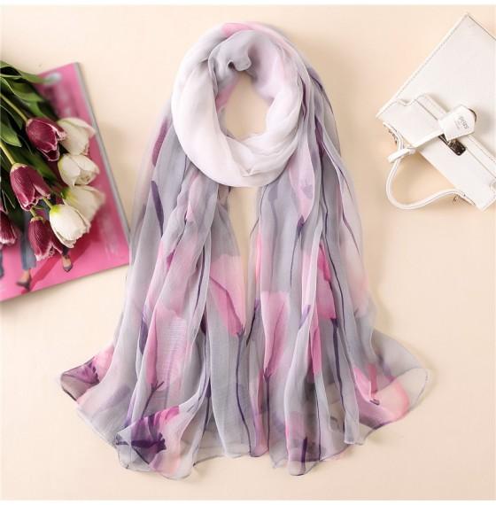 Жіночий шарф прозорий літній з тюльпанами