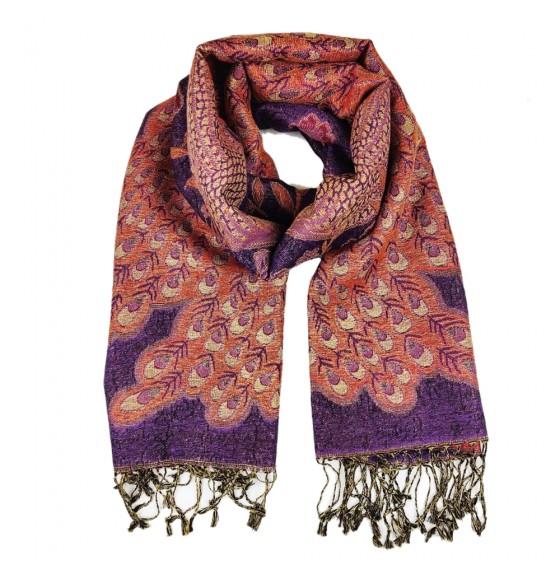 Палантин шарф шерстяной с люрексовой нитью peacock lilas