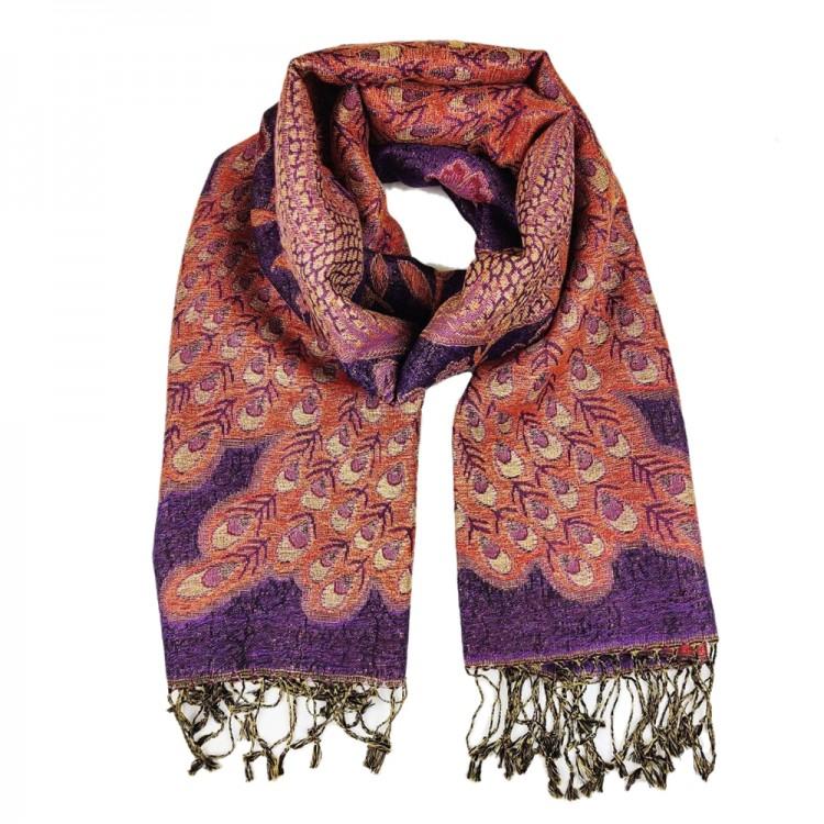 Палантин шарф вовняний з люрексовою ниткою peacock lilas