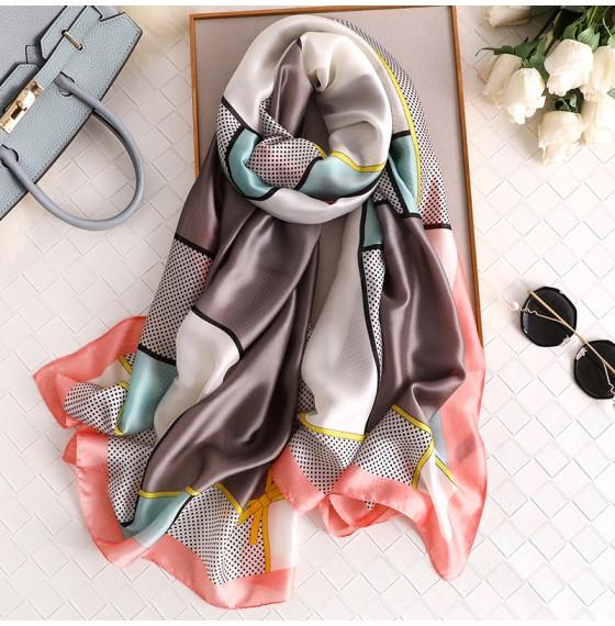 Жіночий шарф шовковий сірий в горошок