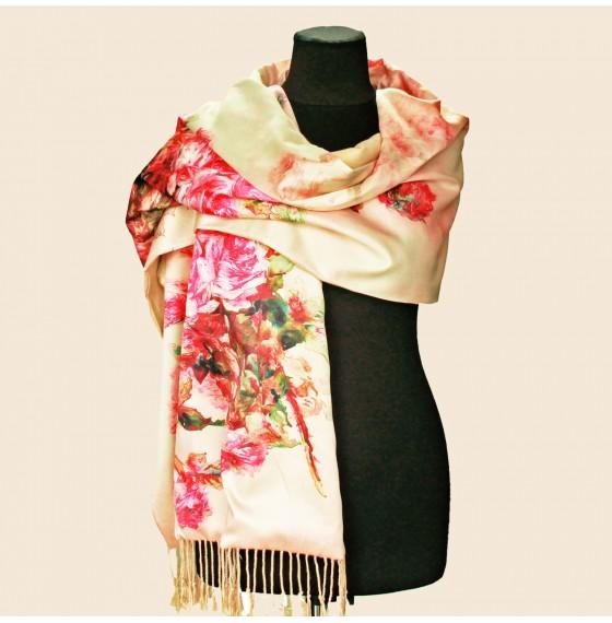 Палантин шарф шелковый natural бежевый с розами