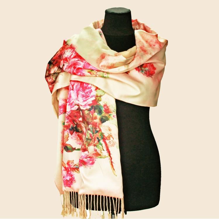 Палантин шарф шовковий natural бежевий з трояндами