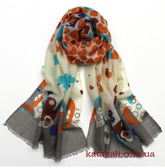 Вовняний шарф з сердечками