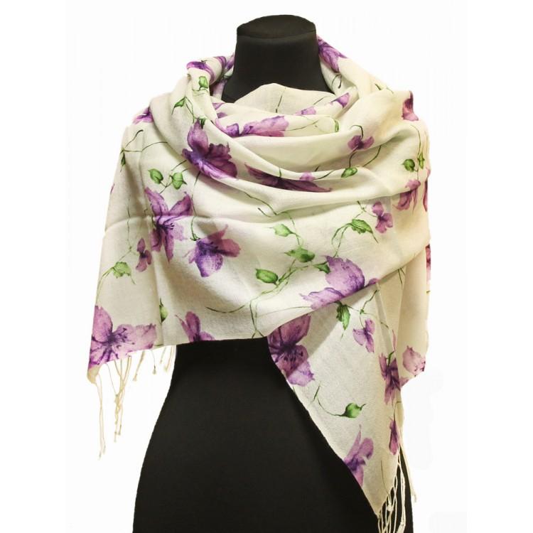 Шерстяной шарф цветы