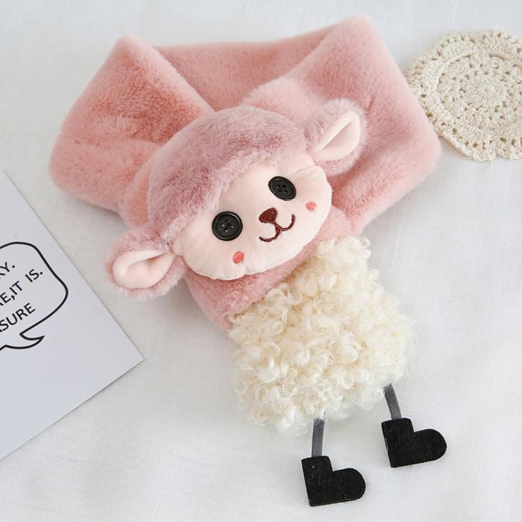 Меховый шарф овечка коричневая
