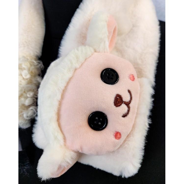 Меховый шарф овечка белая