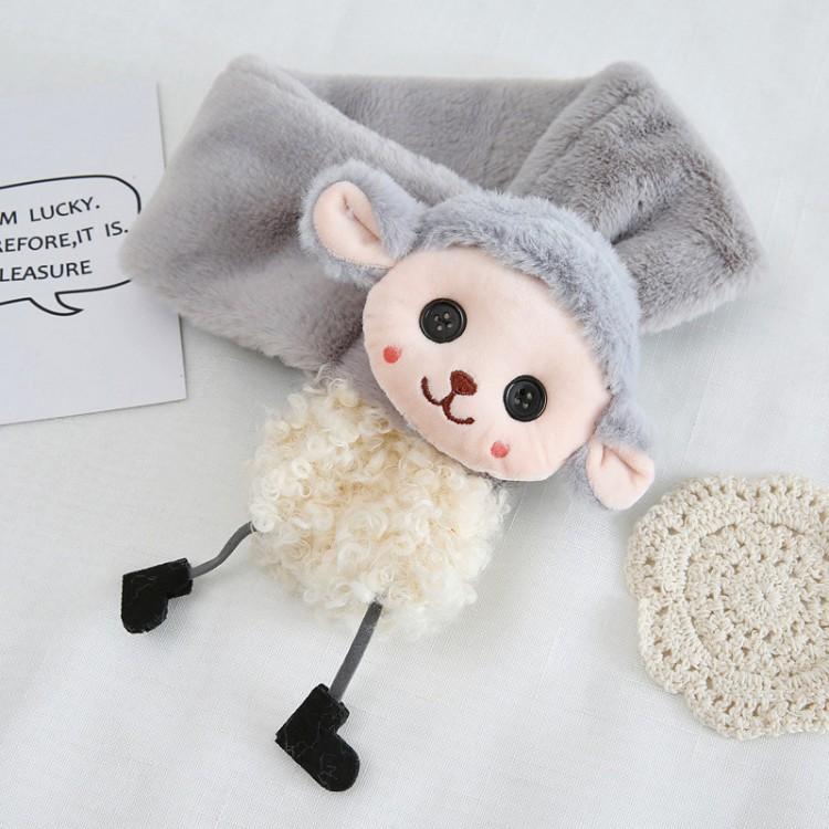 Меховый шарф овечка серая