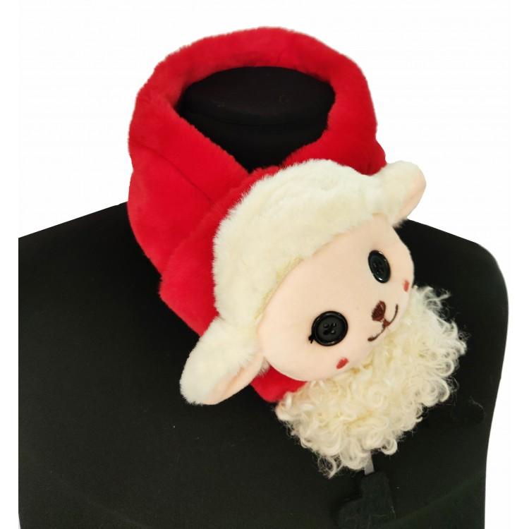 Меховый шарф овечка красная