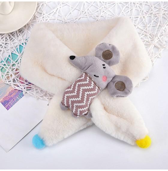 Хутряний шарф мишка бежевий