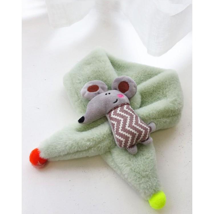 Меховый шарф мышка бежевый