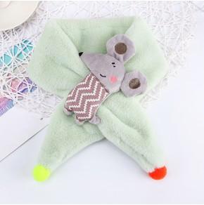 Меховый шарф мышка салатовый