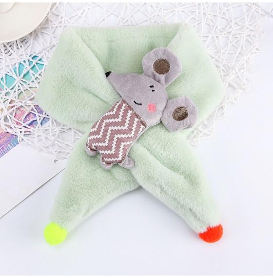 Хутряний шарф мишка салатовий