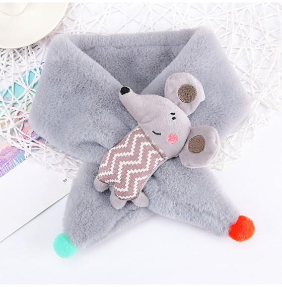 Хутряний шарф мишка сірий