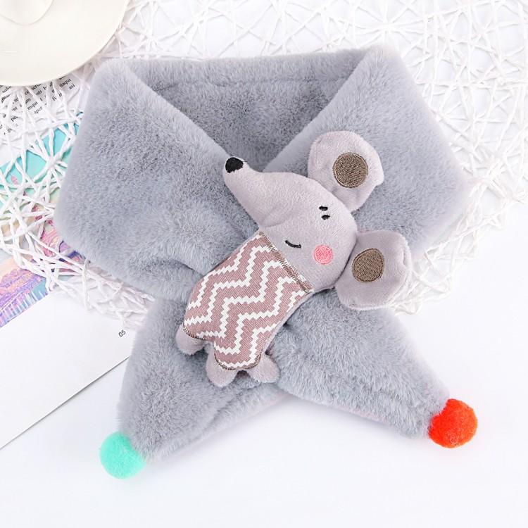 Меховый шарф мышка серый