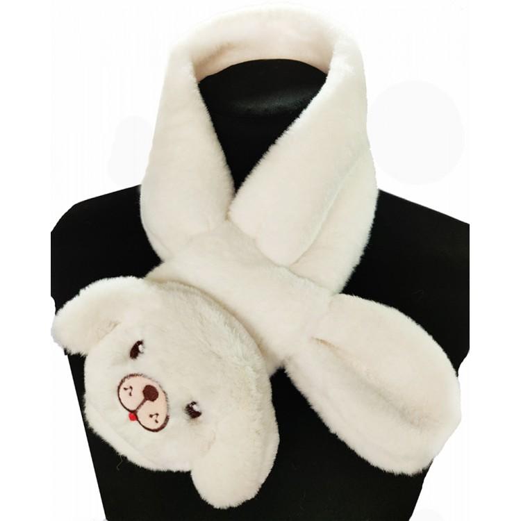 Меховый шарф собачка белая