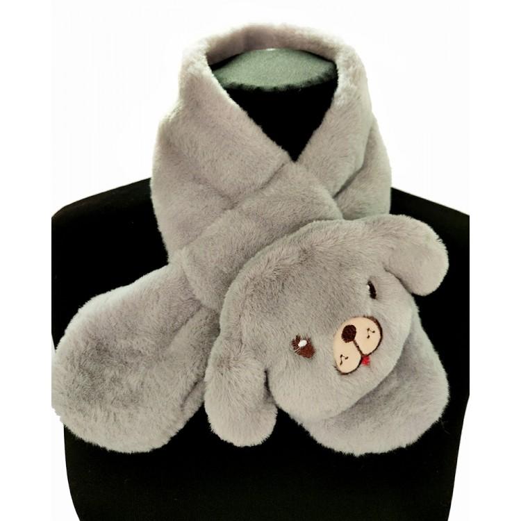 Меховый шарф собачка серая