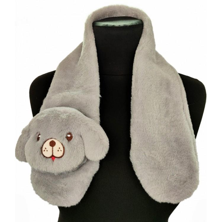 Хутряний шарф собачка сірий