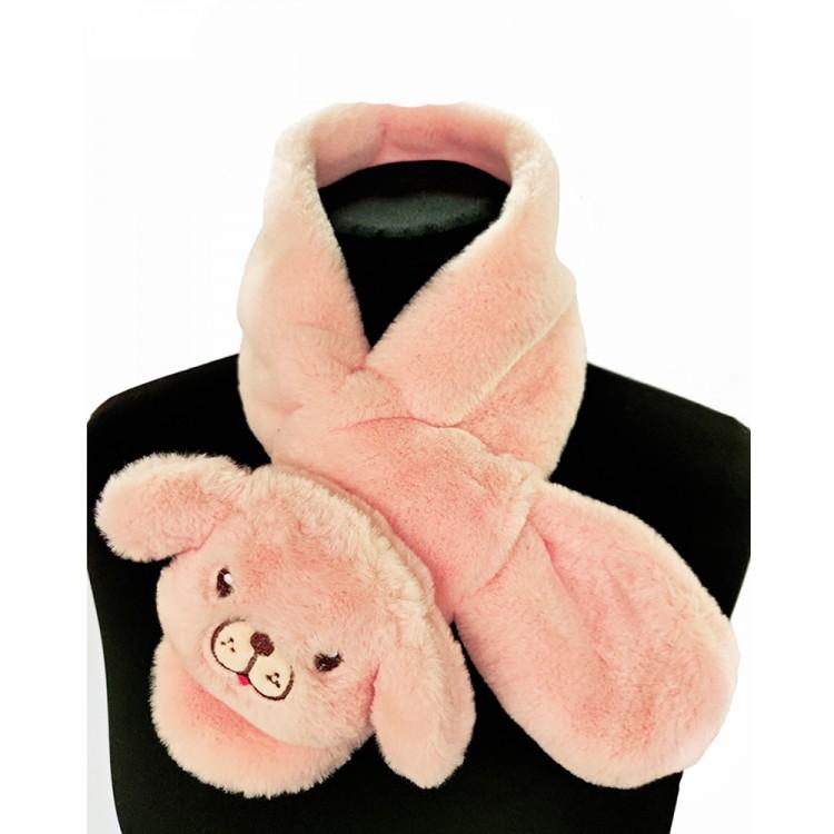 Меховый шарф собачка лиловая