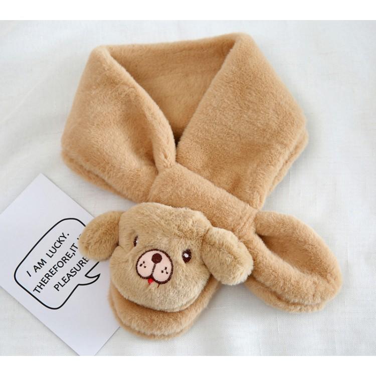 Меховый шарф собачка коричневая