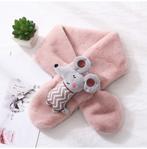 Хутряний шарф мишеня пудрове
