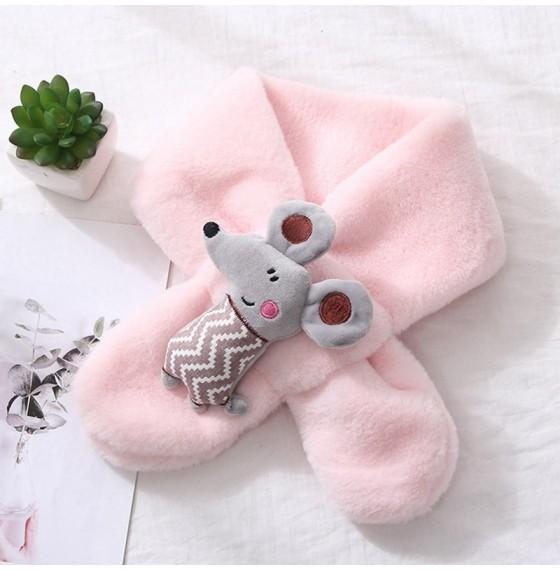 Хутряний шарф мишеня рожеве