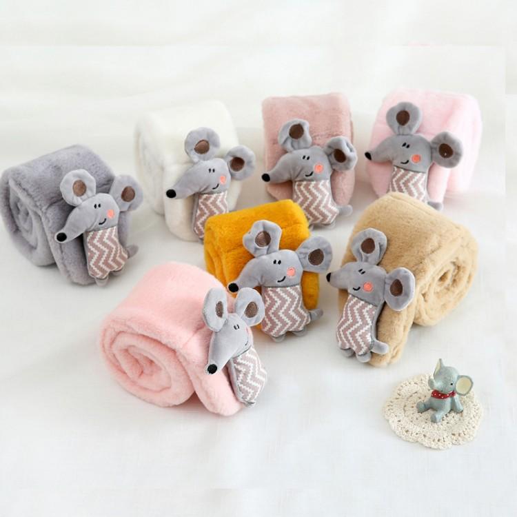 Меховый шарф мышонок розовый