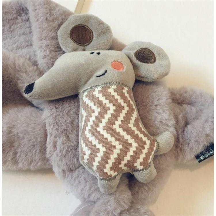 Меховый шарф мышонок серый