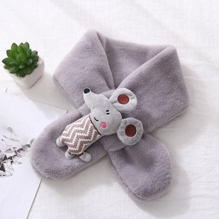 Хутряний шарф мишеня сіре
