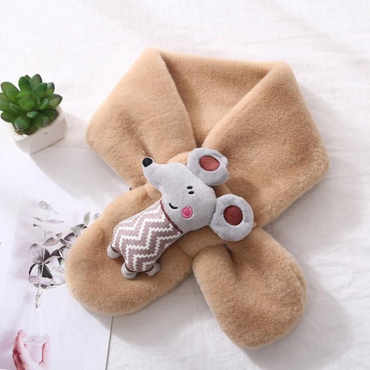 Меховый шарф мышонок бежевый