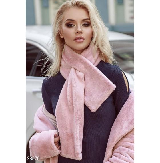 Меховый шарф женский розовый