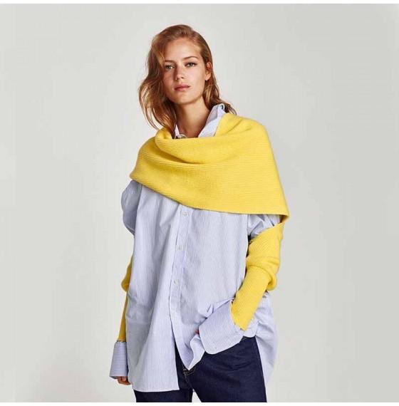 Женский шарф желтый с рукавами