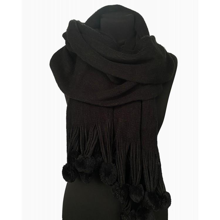 Вязаный шарф с помпонами black