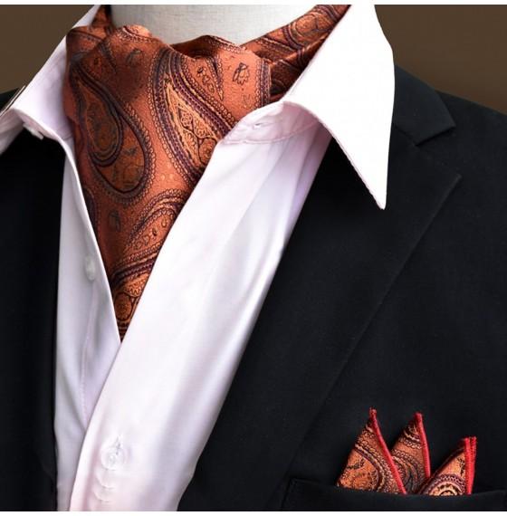 Шейный платок золотистый с огурцами в наборе
