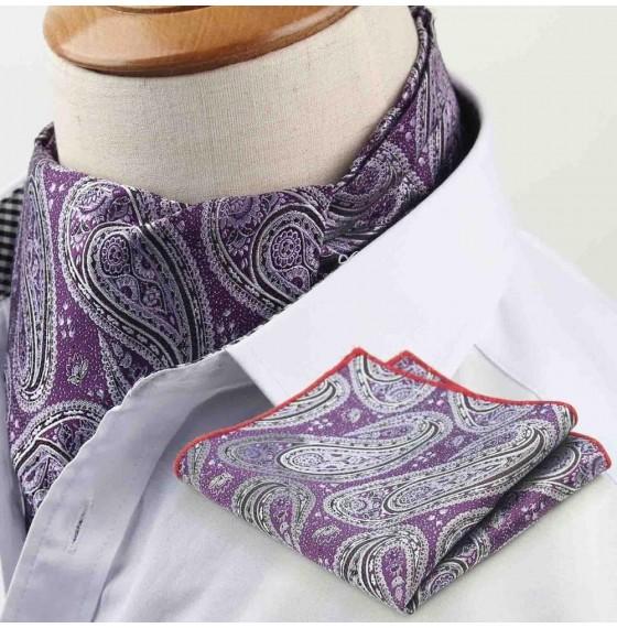 Шейный платок сиреневый с узором бута в наборе