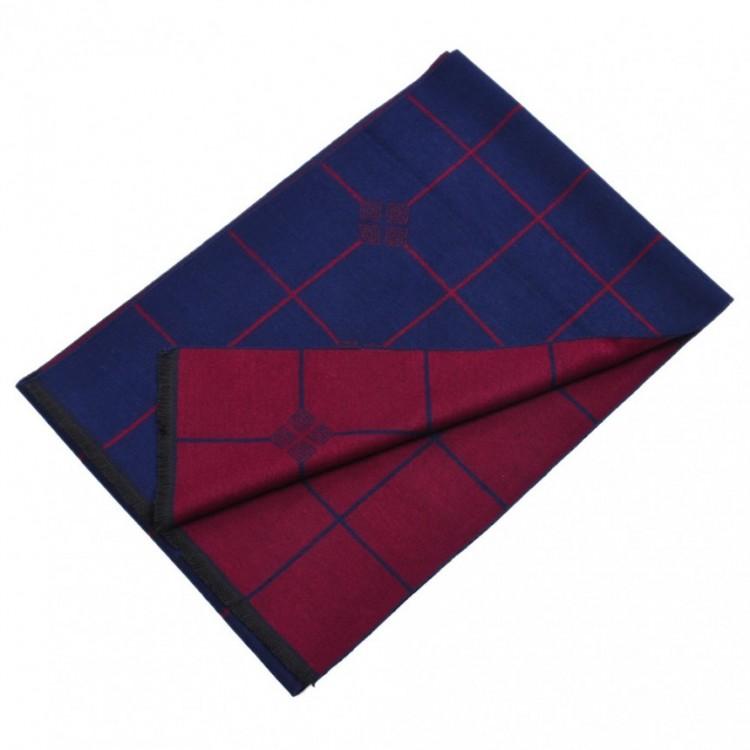Шарф двусторонний сине-бордовый